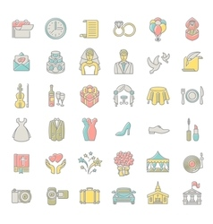 Modern flat linear colorful wedding icons vector image