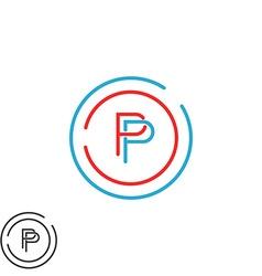 Monogram P letter logo mockup initial modern vector image