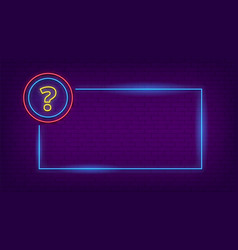 Neon quiz sign glow question mark and lighting vector