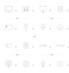 office icon set 4 design line icons style vector image