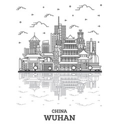 Outline wuhan china city skyline with modern vector
