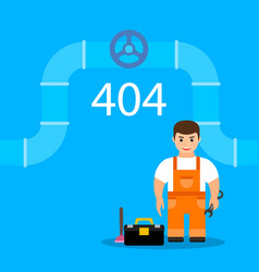 page 404 with plumber web oops error or not found vector image