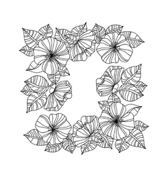 page coloring book with sunflowers vector image