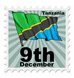 Post stamp of national day of Tanzania vector