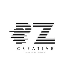 pz p z zebra letter logo design with black and vector image