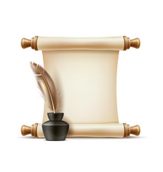 Realistic quill pen in inkpot paper scroll vector