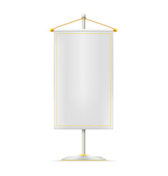 realistic white pennant hanging on white stand vector image