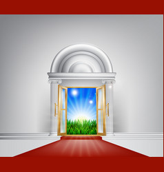 Red carpet nature door vector