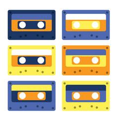 retro cassettes simple design set vector image