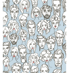 seamless pattern female and male doodle hand vector image