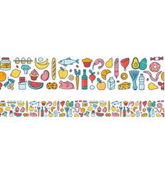 Seamless pattern supermarket grosery store food vector