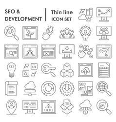 seo and development thin line icon set computing vector image