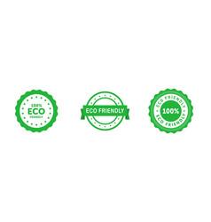set circle eco friendly 100 percent green vector image