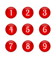 Set glossy round buttons with numbers from 1 vector