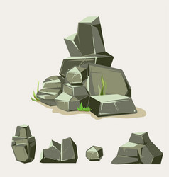 Set rocks rock stone with grass cartoon vector