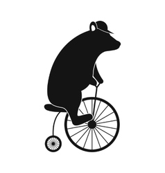 Simple bear on bike icon vector image