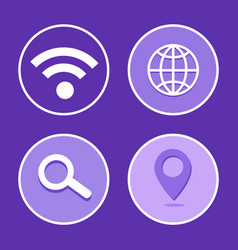 social network wifi set icon vector image