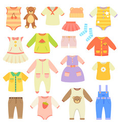 Stylish baby clothes collection for boys and girls vector