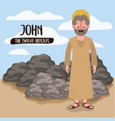 Twelve apostles poster with john in scene in vector