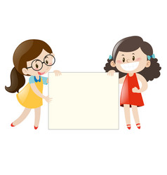 two girls holding blank banner vector image