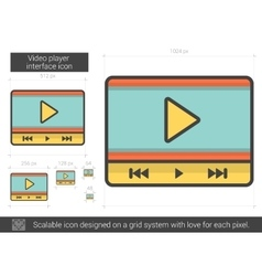 Video player interface line icon vector