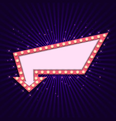 vintage 3d light retro arrow frame vector image
