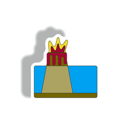 Volcano explosion structure sticker vector