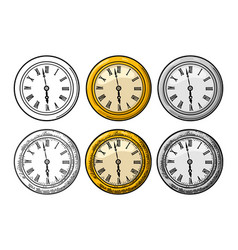 watch vintage engraved on white background vector image