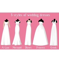 wedding dresses of different styles on mannequins vector image