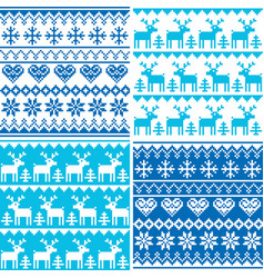 Winter pattern cross stitch collection winter sea vector