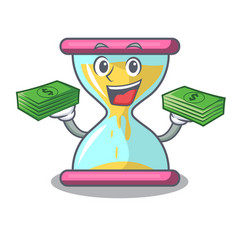 With money modern hourglass on the table cartoon vector
