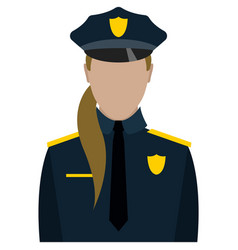 Woman police officer portrait isolated on white vector