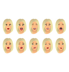 Women facial expressions gestures emotions vector