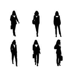 women silhouettes set on white vector image
