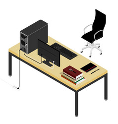 working place desk and office chair personal vector image