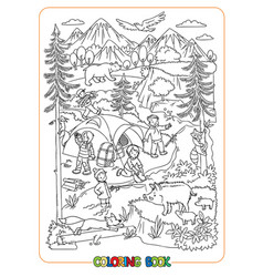 Young hikers or tourists in wild coloring book vector