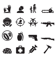 zombie icons set vector image