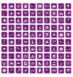 100 kids icons set grunge purple vector image