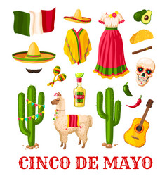 Cinco de mayo mexican holiday celebration icon vector