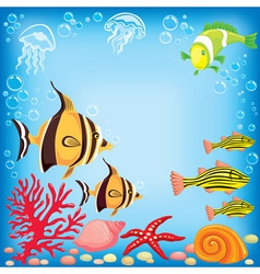 Colored fish under water vector image vector image