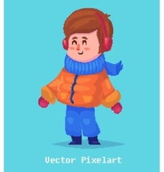 Pixel funnykid Isolated on blue background vector image vector image