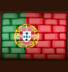 portugal flag on brickwall vector image vector image
