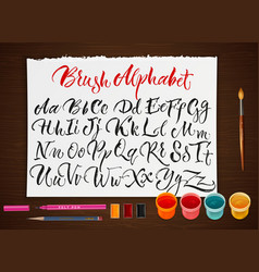 poster with paper sheet with alphabet vector image