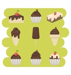 Chocolate sweets icons vector image