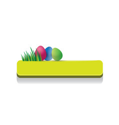 easter green glossy button with easter egg vector image vector image