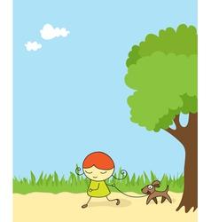 girl walking dog vector image vector image