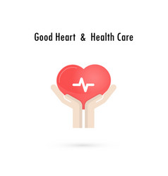heart sign and hands icongood heart amp health vector image vector image