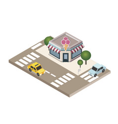 isometric city cafe or restraunt food delivering vector image