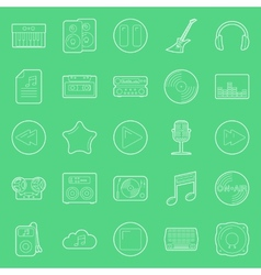 Music and audio thin lines icons set vector image