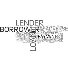 what to do about adverse credit loans text word vector image